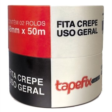 Fita Crepe Adere Tapefix Uso Geral 423 48mm x 50m Embalagem c/ 2 unidades
